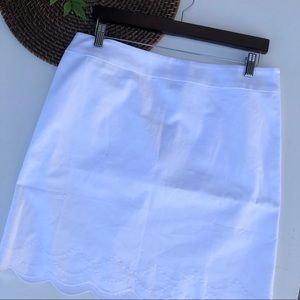 NWT Talbots Skirt White Embroidered Scalloped 12P